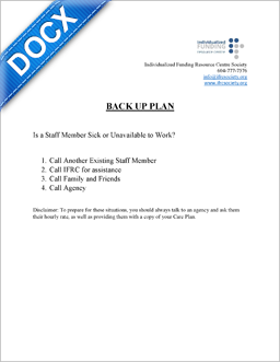 Word Document: Back Up Plan Sample