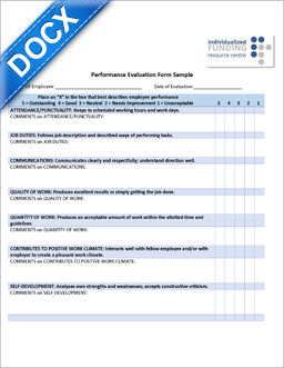 Word Document: New Performance Evaluation Form Sample - Mar 16 2015