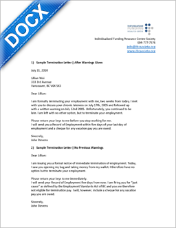 Word Document: Sample Termination Letter